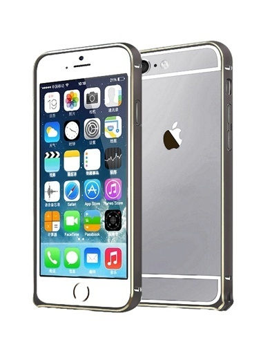 Microsonic iPhone  6 (4.7'') Ultra Thin Metal Bumper Kılıf Black & Gold Renkli